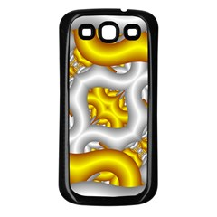 Fractal Background With Golden And Silver Pipes Samsung Galaxy S3 Back Case (Black)