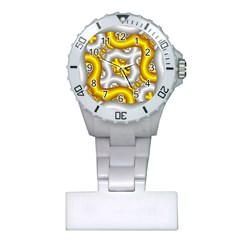 Fractal Background With Golden And Silver Pipes Plastic Nurses Watch