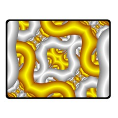 Fractal Background With Golden And Silver Pipes Double Sided Fleece Blanket (small)