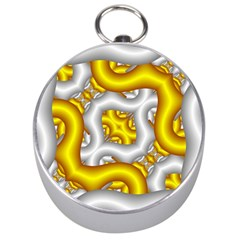 Fractal Background With Golden And Silver Pipes Silver Compasses