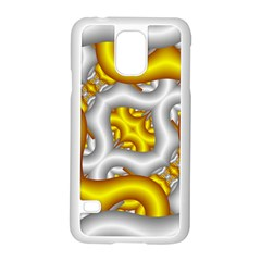 Fractal Background With Golden And Silver Pipes Samsung Galaxy S5 Case (White)