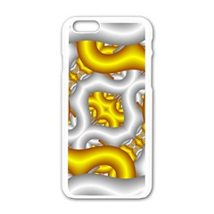 Fractal Background With Golden And Silver Pipes Apple iPhone 6/6S White Enamel Case