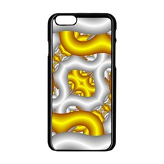 Fractal Background With Golden And Silver Pipes Apple Iphone 6/6s Black Enamel Case