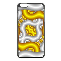 Fractal Background With Golden And Silver Pipes Apple Iphone 6 Plus/6s Plus Black Enamel Case