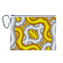 Fractal Background With Golden And Silver Pipes Canvas Cosmetic Bag (l)