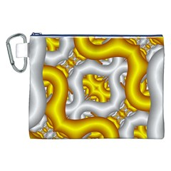 Fractal Background With Golden And Silver Pipes Canvas Cosmetic Bag (xxl)