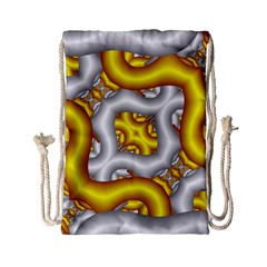 Fractal Background With Golden And Silver Pipes Drawstring Bag (small)