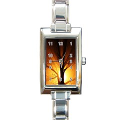 Rays Of Light Tree In Fog At Night Rectangle Italian Charm Watch