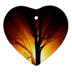 Rays Of Light Tree In Fog At Night Ornament (Heart)