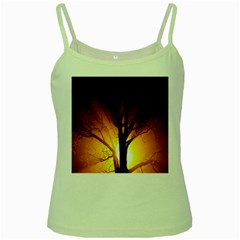 Rays Of Light Tree In Fog At Night Green Spaghetti Tank