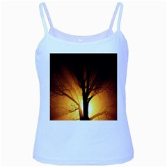 Rays Of Light Tree In Fog At Night Baby Blue Spaghetti Tank
