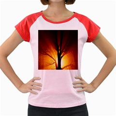 Rays Of Light Tree In Fog At Night Women s Cap Sleeve T Shirt