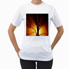 Rays Of Light Tree In Fog At Night Women s T Shirt (white) (two Sided)