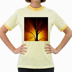 Rays Of Light Tree In Fog At Night Women s Fitted Ringer T Shirts