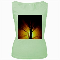 Rays Of Light Tree In Fog At Night Women s Green Tank Top