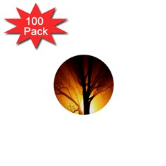 Rays Of Light Tree In Fog At Night 1  Mini Buttons (100 Pack)