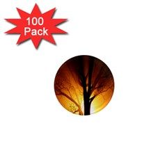 Rays Of Light Tree In Fog At Night 1  Mini Magnets (100 pack)