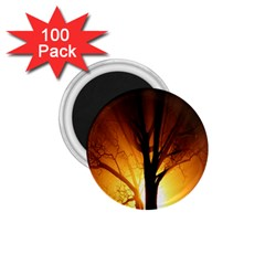Rays Of Light Tree In Fog At Night 1.75  Magnets (100 pack)