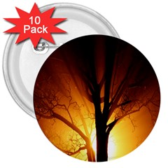 Rays Of Light Tree In Fog At Night 3  Buttons (10 Pack)