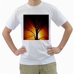 Rays Of Light Tree In Fog At Night Men s T Shirt (white) (two Sided)