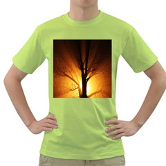 Rays Of Light Tree In Fog At Night Green T Shirt