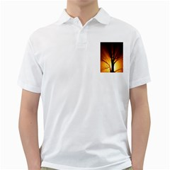 Rays Of Light Tree In Fog At Night Golf Shirts