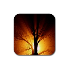 Rays Of Light Tree In Fog At Night Rubber Square Coaster (4 Pack)