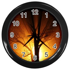 Rays Of Light Tree In Fog At Night Wall Clocks (black)