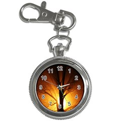 Rays Of Light Tree In Fog At Night Key Chain Watches