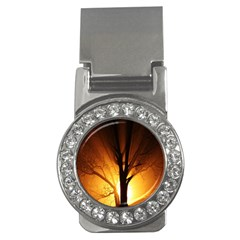 Rays Of Light Tree In Fog At Night Money Clips (CZ)
