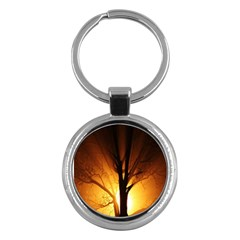 Rays Of Light Tree In Fog At Night Key Chains (Round)