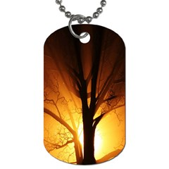 Rays Of Light Tree In Fog At Night Dog Tag (one Side)