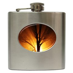 Rays Of Light Tree In Fog At Night Hip Flask (6 Oz)
