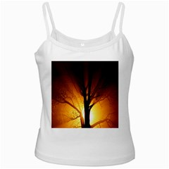 Rays Of Light Tree In Fog At Night Ladies Camisoles