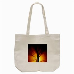 Rays Of Light Tree In Fog At Night Tote Bag (Cream)