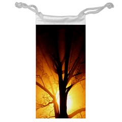 Rays Of Light Tree In Fog At Night Jewelry Bag