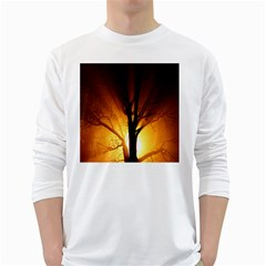 Rays Of Light Tree In Fog At Night White Long Sleeve T Shirts