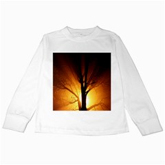 Rays Of Light Tree In Fog At Night Kids Long Sleeve T-Shirts