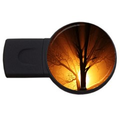 Rays Of Light Tree In Fog At Night Usb Flash Drive Round (4 Gb)
