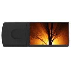 Rays Of Light Tree In Fog At Night Usb Flash Drive Rectangular (4 Gb)