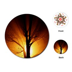 Rays Of Light Tree In Fog At Night Playing Cards (round)