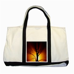 Rays Of Light Tree In Fog At Night Two Tone Tote Bag