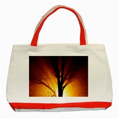 Rays Of Light Tree In Fog At Night Classic Tote Bag (red)