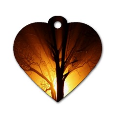 Rays Of Light Tree In Fog At Night Dog Tag Heart (one Side)
