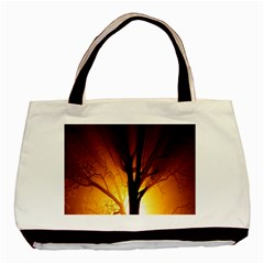 Rays Of Light Tree In Fog At Night Basic Tote Bag (two Sides)