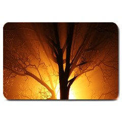 Rays Of Light Tree In Fog At Night Large Doormat