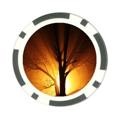 Rays Of Light Tree In Fog At Night Poker Chip Card Guard