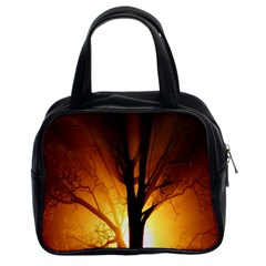 Rays Of Light Tree In Fog At Night Classic Handbags (2 Sides)
