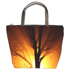Rays Of Light Tree In Fog At Night Bucket Bags
