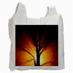 Rays Of Light Tree In Fog At Night Recycle Bag (two Side)